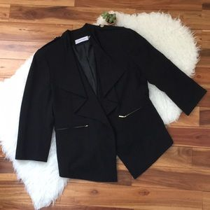 •Calvin Klein• Black Draped Gold Button Blazer